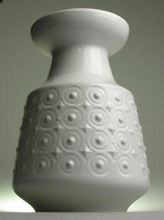 Carstens West German Pottery Modernist Mid 20 th Century Vintage Retro White Pot