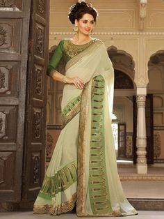 Saree trend to give a woman sensual and stunning look.  Item Code: SHE19177 http://www.bharatplaza.com/new-arrivals/sarees.html