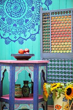 Janice issitt life style: painters in residence moroccan boho bedroom paint Morrocan Decor, Moroccan Stencil, Moroccan Bedroom, Dream Catcher Drawing, Chalkboard Wall Bedroom, Moroccan Garden, Mandalas Drawing, Garden Theme, Colorful Decor