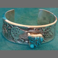 John Shopteese Tufa Cast Silver and Turquoise Bracelet - Sedona Indian Jewelry