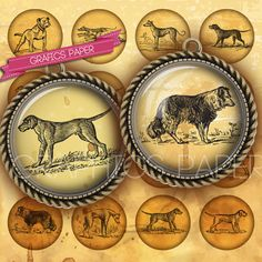 """Dogs Victorians - digital collage sheet - td8 - 1.5"""", 1.25"""", 30mm, 1 inch circles - Printable Images - Bottle caps"""