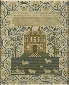 Eliza Dell, aged 9, 1800.  A great use of repeating patterns in this one -- checks, stripes, the border, the branches and their leaves.  Solid composition and a good example of the craft.