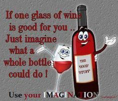 If one glass of wine is good for you, imagine what a whole bottle could do! Happy #WW #WineWednesday