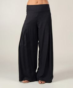 I so want these...This Black Shirred Palazzo Pants by Aller Simplement is perfect! #zulilyfinds