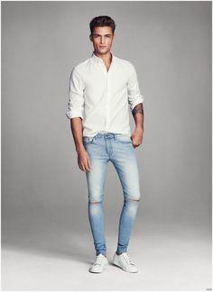 white oxford shirt with denims for men #MensFashion