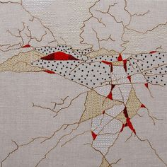 My piece titled Wrinkle Embroidery VI is on view at Gallery A3 in Amherst, MA through 8/2. Perle cotton on linen. #fiberartnow #embroidery