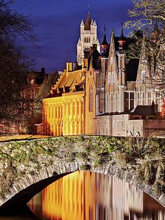 Canal Bridge At Night - Bruges Print by Barry O Carroll France Photography, Popular Photography, Bruges, Beverly Hills, Fine Art America, Instagram Images, Mansions, Night, House Styles