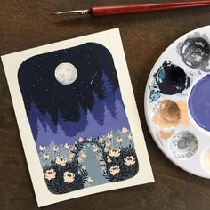 Doesnt this look like a nice spot for a moonlight stroll . Gouache on coldpress watercolor paper . Posca Marker, Marker Art, Gouache Illustrations, Illustration Art, Painting Inspiration, Art Inspo, Gouche Painting, Posca Art, Diy Canvas Art