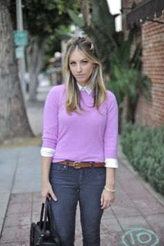Style: Great ways to casually wear color from Cupcakes and Cashmere Pantone, Hoodie, Sweatshirt, Pullover, Blond, Winter Sweater Outfits, Pink Sweater, Preppy Casual, Cashmere Color