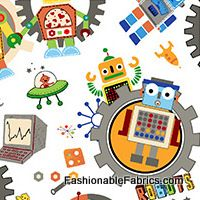 Run Run Robot Large Robot Toss on White by Studio 8 for Quilting Treasures