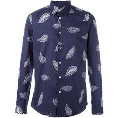 Paul Smith Printed Shirt (1,455 MXN) ❤ liked on Polyvore featuring men's fashion, men's clothing, men's shirts, men's casual shirts, men, light blue, mens light blue dress shirt and paul smith mens shirt