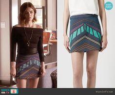 Aria's chevron print skirt on Pretty Little Liars.  Outfit Details: https://wornontv.net/58753/ #PLL