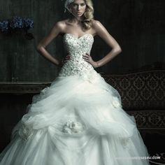 Welcome To Bridal Collection Of New Style Western Royal Court Strapless Sweep Brush Ball Gown Princess Sweet Flower Wedding Dresses Formal Attire IWD0111 On Sale For Winter In 2012