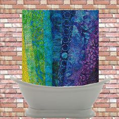 Artistic Shower Curtain - 24/7 Design - Holcombe - Abstract blue, green, teal, aqua, impressionist art, bathroom, decor #home #decor matching fabric and flip flops available