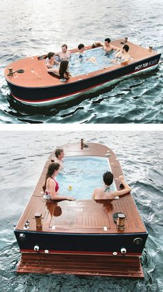 "Summer Bucket List: The ""Hot Tug"" boat. A hot tub you can drive around the lake."