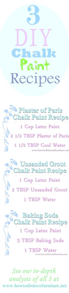 3 Homemade Chalk Paint Recipes Plus our In-Depth Analysis of Each!                                                                                                                                                                                 More