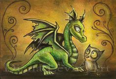 Dragon and Owl Art Print  Fantasy Painting   by DianaLevinArt