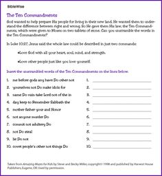 Match Commandment with the Right Number - Kids Korner - BibleWise ...
