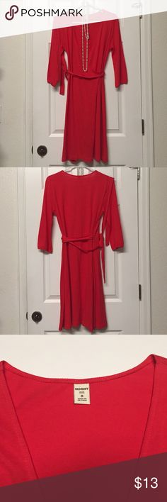 Old Navy Wrap Dress Old Navy Small Wrap Dress. This dress is in excellent condition, except for the little pin hole on the right sleeve that's in the front and back (listed in the last photo). Color: Red-Orange Old Navy Dresses Midi