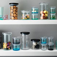 Iittala Mini Narrow Grey Glass Jar Your smallest items are ready to be contained in Iittala's stylish glass jars. The Iittala mini narrow glass jar is the perfect size for storing collections of craft supplies, buttons, beads, office do. Small Glass Jars, Glass Storage Jars, Jar Storage, Glass Containers, Food Storage, Pentagon Design, Design Online Shop, Aesthetic Solutions, Grey Glass