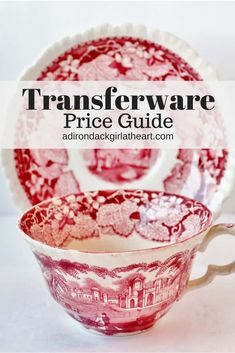 Find help in this post with valuing your antique and vintage transferware dishes, including American, English, and French pieces of both blue and red transferware. Red Dinner Plates, Dinner Ware, Dinner Sets, Blue And White China, Red And White, Vintage Plates, Vintage Pyrex, Vintage Glassware, Vintage China