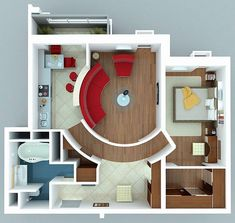 Apartments : Interesting Apartment with Curved Walls for floor plans for small houses design ideas picture - a part of Fascinating 1 Bedroom Apartment/House Plans Apartment Layout, 1 Bedroom Apartment, One Bedroom, Apartment Design, Studio Apartment, Apartment Ideas, Apartment Interior, Apartment Living, Couples Apartment