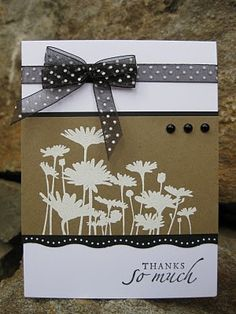 Upsy Daisy on a lovely kraft, black and white card...  Cute for a thank you card...in different colors of course!