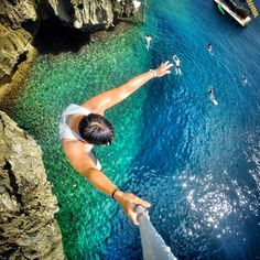 Cliff jumping in Boracay in the Philippines. Photo: Keith Mui via GoPro Boracay Philippines, Philippines Travel, Gopro Ideas, Cliff Diving, Scuba Diving, Cliff Jump, Philippine Holidays, Boracay Island, Gopro Photography