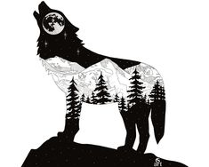 Wolfing Around in CO. Silhouette of a howling wolf with mountain scene of Mt. Ev… Wolfing Around in CO. Silhouette of a howling wolf with mountain scene of Mt. Original Medium: Digital Drawing using Adobe Sketch. Artist: Cherie L Smittle Wolf Silhouette, Silhouette Tattoos, Silhouette Painting, Silhouette Cameo, Mountain Tattoo, Mountain Art, Mountain Range, Animal Drawings, Art Drawings