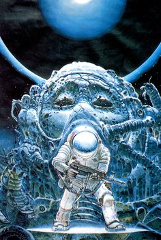 Something happened on the day he died‬ Spirit rose a metre and stepped aside‬ Somebody else took his place, and bravely cried: I'm a blackstar ‬ L'étoile noire (The Black Star). Cover art by Argentine comics artist, Juan Giménez, Arte Sci Fi, Arte Alien, Sci Fi Art, Jean Giraud, Berenice Abbott, Cover Art, Alfons Mucha, Sci Fi Kunst, Science Fiction Kunst