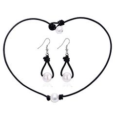 """One Freshwater Pearl Choker Leather Necklace Earring Set for Women Fine Jewelry 18\""""-Black Leather -- Read more reviews of the product by visiting the link on the image."""