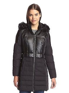 7 for All Mankind Down Puffer Coat - Faux-Fur Trim (For Women) Black,