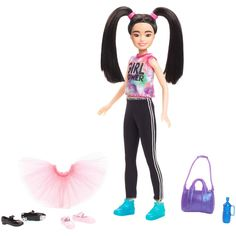 Young dancers can play out all types of routines with the Barbie Team Stacie Doll and Accessories Explore more Stacie dolls at our Barbie shop today! Barbie Shop, Barbie Toys, Barbie Clothes, Barbie Stuff, Barbie Playsets, Barbie Skipper, Barbie Fashionista, Girl Hair Colors, Long Dark Hair