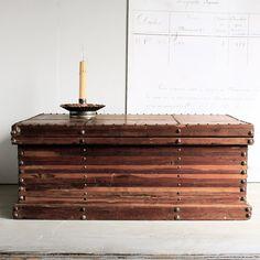 Vintage Studded Wooden Chest. , via Etsy.