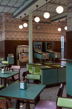 Bar Luce at Fondazione Prada vintage style interesting use of colour