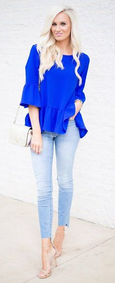 trendy outfit_blue blouse + bag + jeans + heels