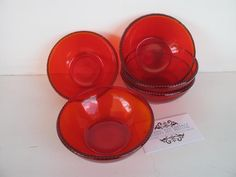 SOLD by NBV - more vintage finds added daily. Set of 5 deep red fruit / sweets glass bowls, great condition, vibrant colouring with small red balls around the outer rim. Measures 12 cm in diameter.