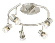 "Pro Track® 5-Light Spiral Ceiling Light by ProTrack. $69.95. Artfully combining style and function, this spiral-shaped halogen fixture comes from the Pro Track lighting collection. It features 5 halogen bullet lights that can be aimed and positioned as needed. A great look for kitchens or offices. Satin nickel finish. Includes five 50 watt GU-10 halogen bulbs. 15 3/4"" wide. Extends 8"" from the ceiling."