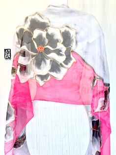 Hand Painted Silk Shawl Pink and Gray Silk by SilkScarvesTakuyo