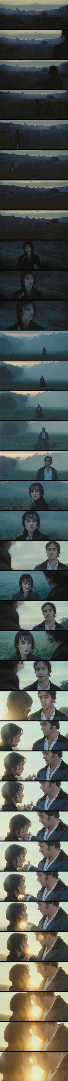 Pride and Prejudice 2005 Final scene where Elizabeth Bennet and Mr. Darcy finally get together. Jo Wright takes some artistic liberty in intensifying the romance in this story with this scene, given that Austen avoided the passionate intensity that characterized romantic novels.