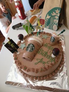 Creative Photo of Birthday Cake Frappe Birthday Cake Frappe Starbucks Cake Made Jeanette Labella Jlabella Cakes Cake cake decorating recipes anniversaire chocolat de paques cakes ideas Birthday Cake Shots, Birthday Cake With Photo, Husband Birthday Cake, Teen Birthday Cakes, Teen Cakes, Frappuccino, Frappe, Bolo Tumblr, Cake Cookies