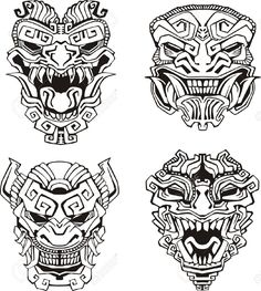 16729496-Aztec-monster-totem-masks--Stock-Vector-maya.jpg (1165×1300)