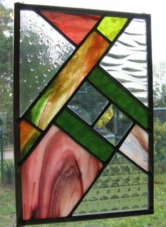 Pink, Green, and Clear Stained Glass Sampler Suncatcher