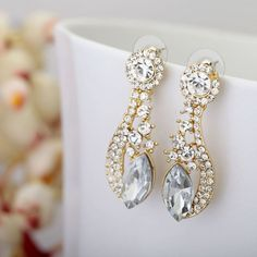 Gold Plated Crystal Bridal Earrings