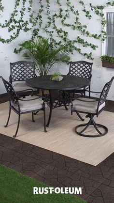 Painting Patio Furniture, Diy Garden Furniture, Outdoor Furniture Sets, Outdoor Decor, Cast Aluminum Patio Furniture, Outdoor Dining Set, Small Backyard Patio, Back Patio, Diy Patio