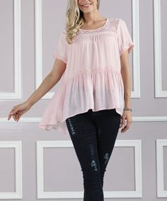 Pale Pink Lace-Yoke Hi-Low Tunic - Plus Too