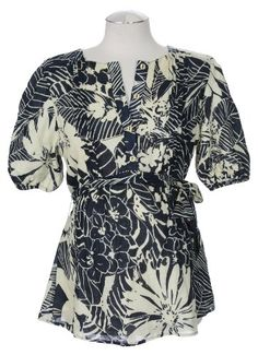 Lauren Kiyomi Printed Voile Cotton Dart Blouse in Tropical Navy (Maternity) - More Prints Available $88.00
