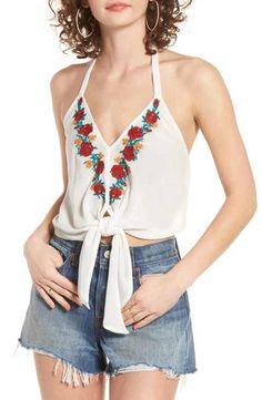 0d9e5a47d68595 Band of Gypsies Embroidered Halter Top Summer Tops