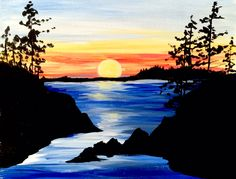 SOLD OUT - Muse Paint Bar - Assembly Row - Saturday, 1/2/16 - Evening Twilight - Earth, air, water, and a fiery sunset: all of the elements are capture here.