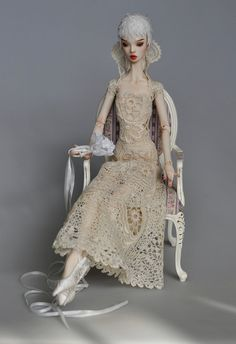 Crochet dress with antique lace for doll by by DressForDoll, $249.00